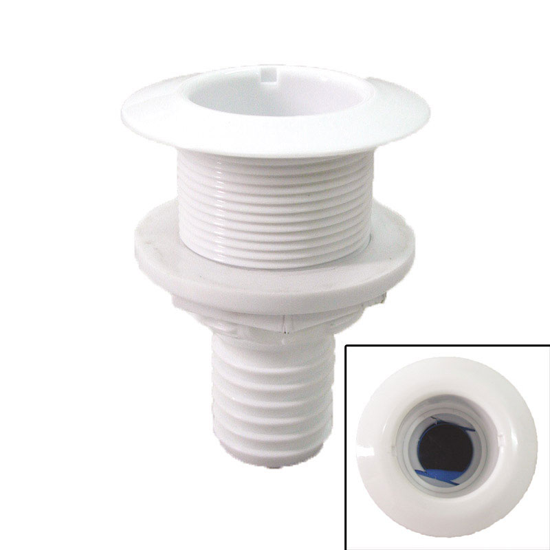 Thru-Hulls with Flush Flange and Hose Barb, White