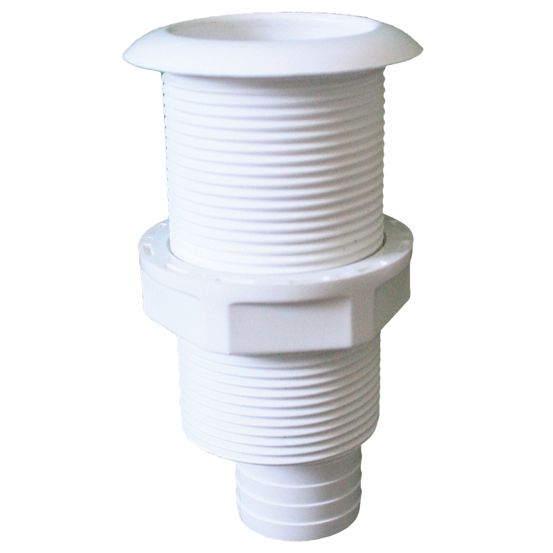 Thru-Hulls Threaded with Hose Barb, White