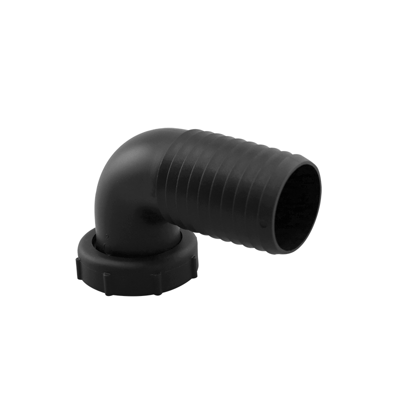 """Inlet Elbow Fitting  for 38mm hose,1 1/2"""" thread tightening ring,black"""