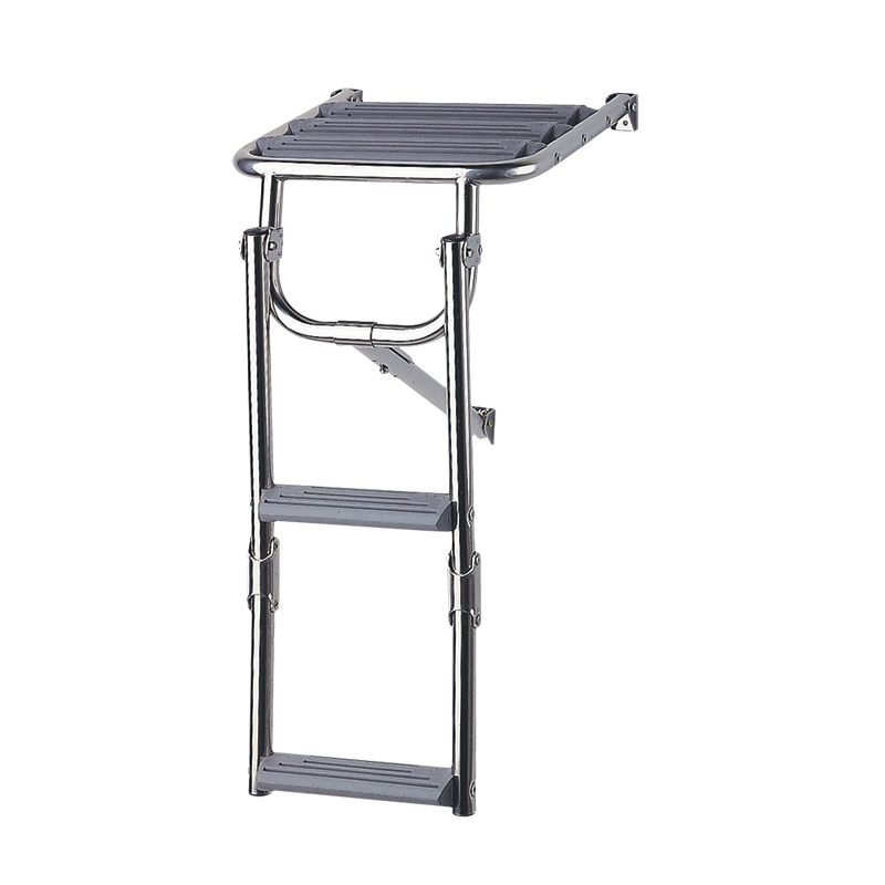 Platform Ladder,Inox 316, with 2 Plastic Steps